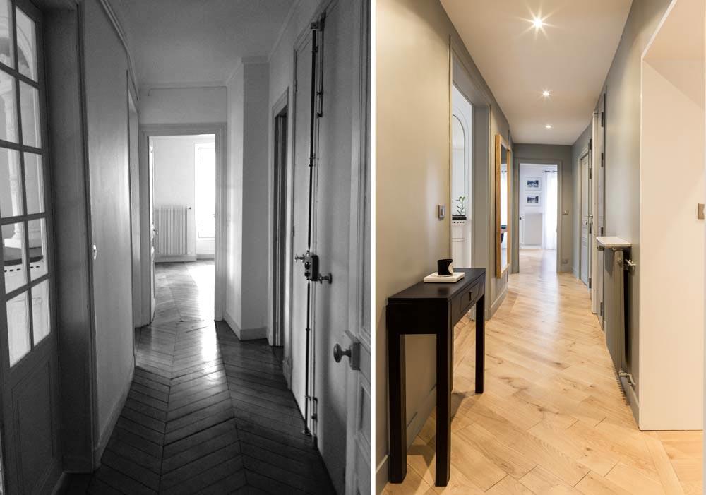 Rénovation d'un couloir dans un appartement haussmannien par un architecte d'intérieur