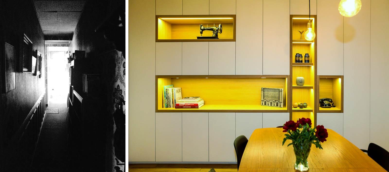 Rénovation d'appartement par un architecte d'intérieur avec des rangements intégrés dans le salon