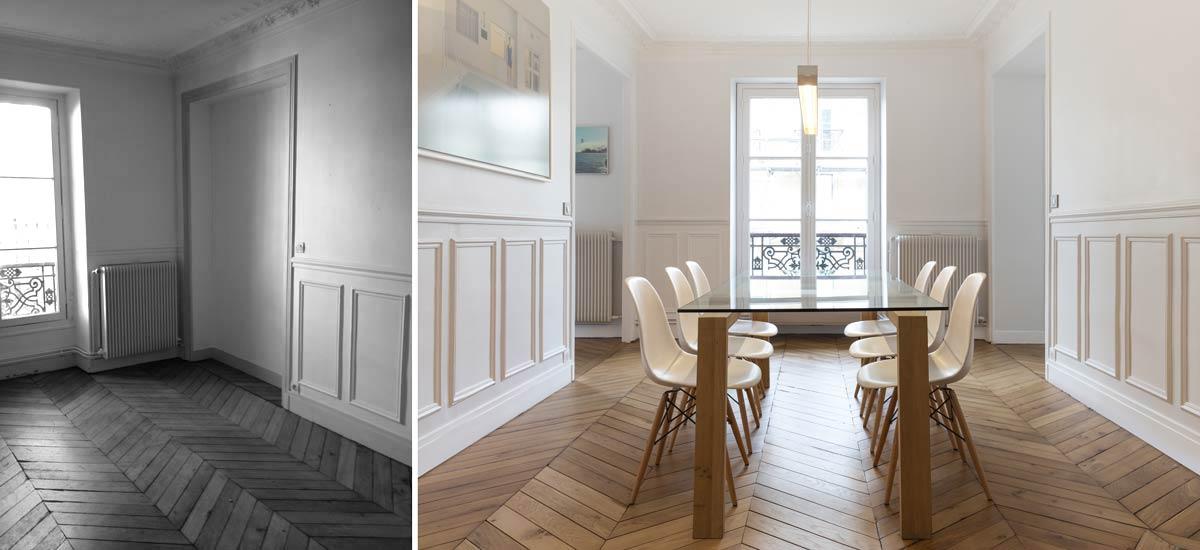 architecture d 39 int rieur d 39 un appartement haussmannien 4 pi ces 100m. Black Bedroom Furniture Sets. Home Design Ideas