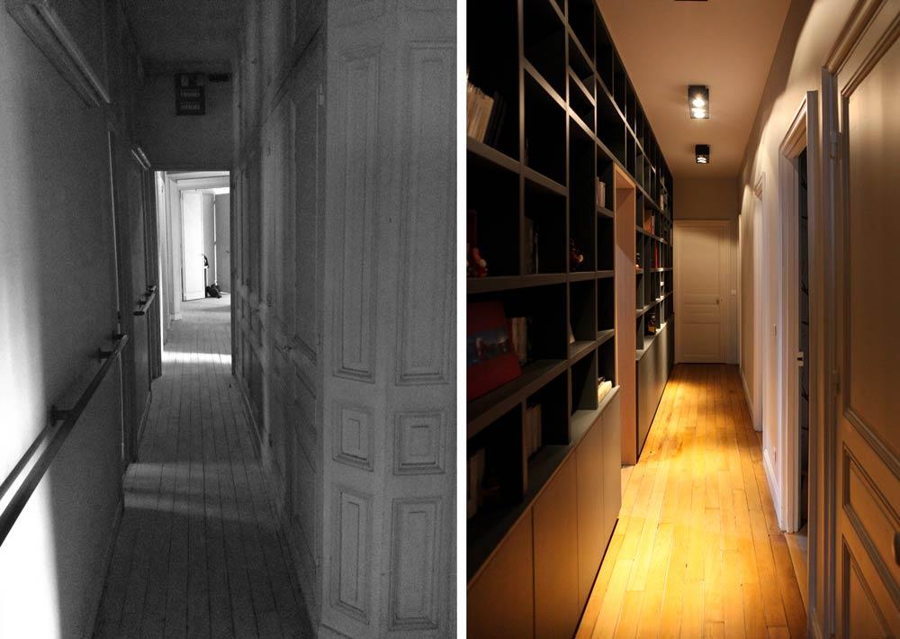 Avant - après : Le couloir de l'appartement après les travaux de rénovation