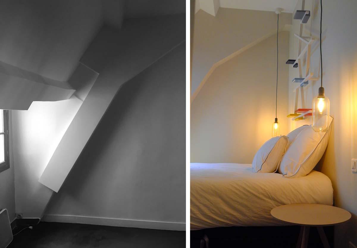 Photo avant - après d'une chambre d'ami avec une déco design