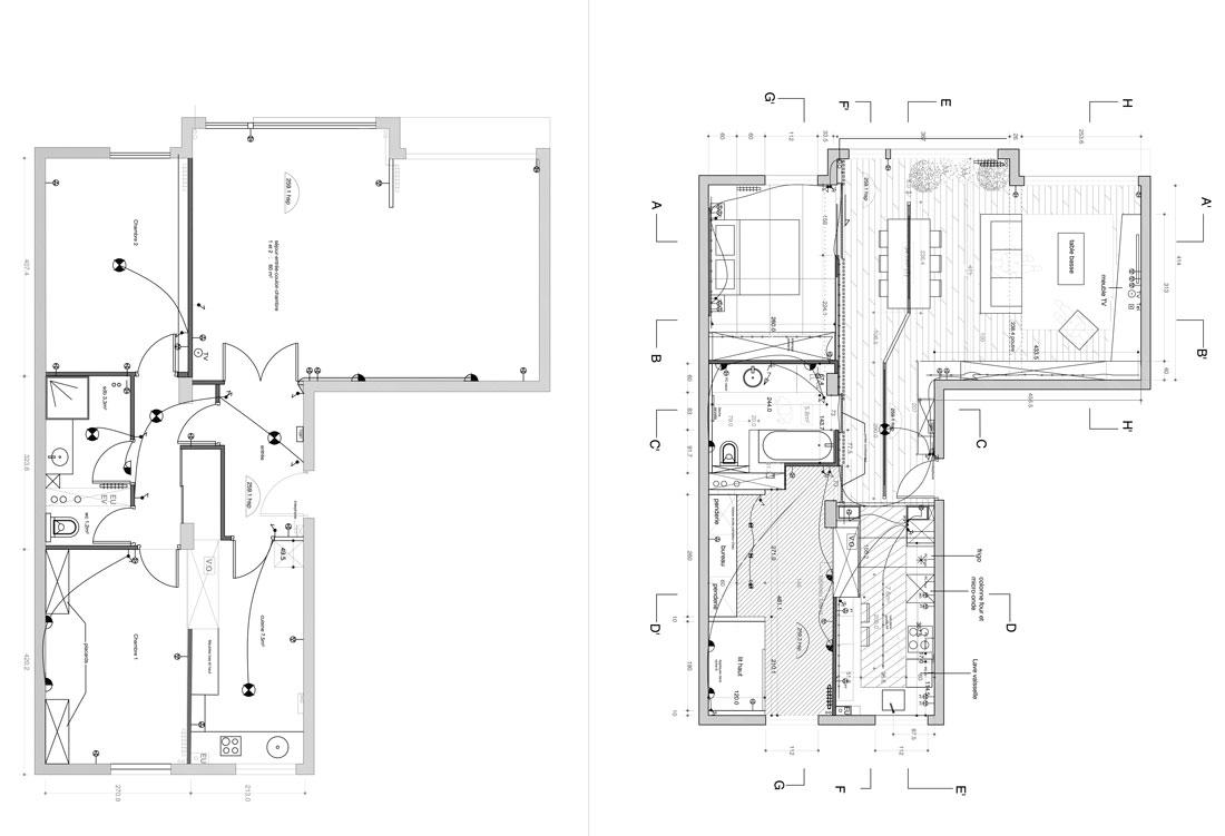 Plan de rénovation dun appartement par un architecte dintérieur