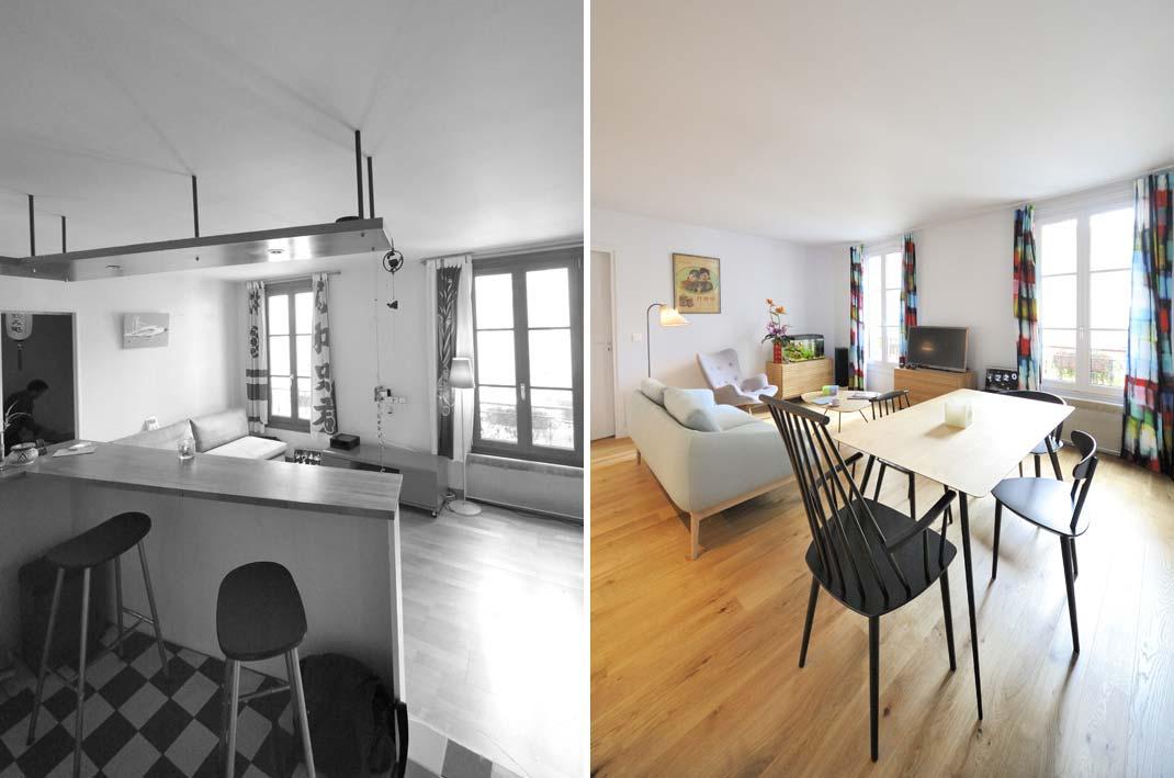avant apr s r organisation d 39 un appartement 2 pi ces de 45m2. Black Bedroom Furniture Sets. Home Design Ideas