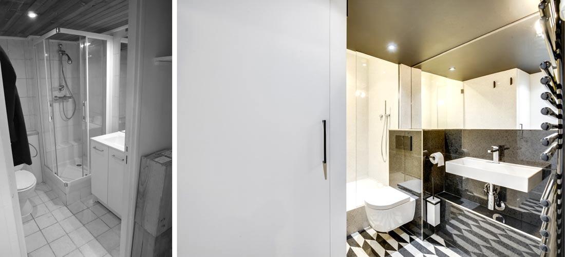 Avant/Après : aménagement de la salle de bain avec douche de l'appartement rénové