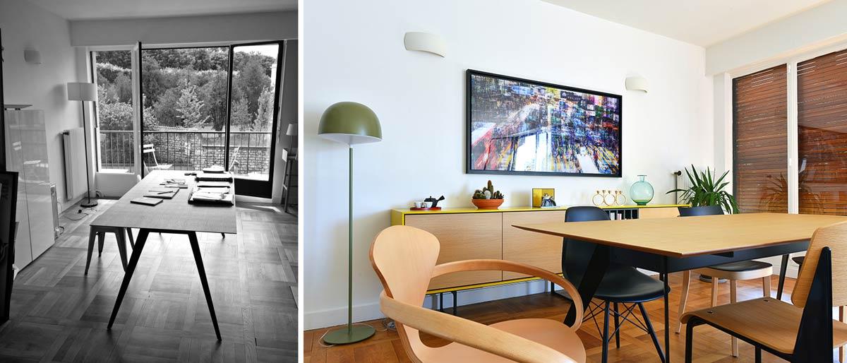 d coration d 39 un salon s jour de 40m2 avant apr s. Black Bedroom Furniture Sets. Home Design Ideas