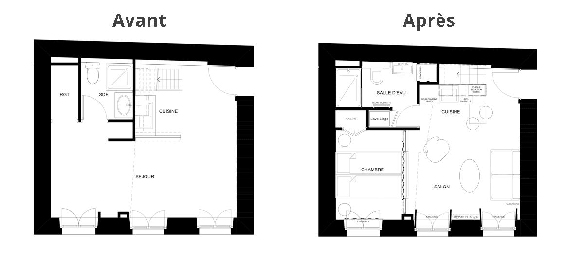 Plan avant après de la rénovation du studio en appartement 2 pièces à Paris
