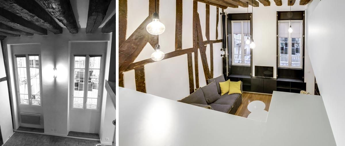 Rénovation d'un studio en appartement duplex à Paris
