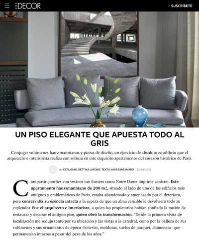 Article du magazine Elle Decor sur la rénovation d'un appartement